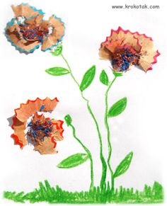 flowers using pencil sharpenings -- nice mixed media.  I think these are so pretty.  and students do love to sharpen pencils.