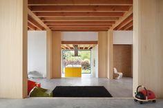 dnA House / BLAF Architecten studio--concrete floor, drywall, exposed wood ceiling