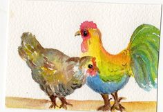 ACEO  Chicken Chat Original Roosters watercolor by SharonFosterArt, $8.00