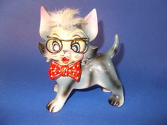 Vintage Unique Ceramic Cat with Glasses Figurine by Luckyyou2, $12.50