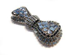 Vintage Blue Bow Brooch Layered Rhinestone Brooch Unsigned