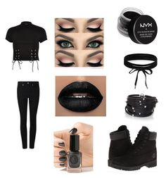 """""""Black/ Gothic look"""" by hibastar11 ❤ liked on Polyvore featuring beauty, River Island, NYX, Boohoo, Sif Jakobs Jewellery, Timberland and Cirque Colors"""