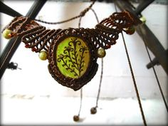 Macramé Yellow Turqouise necklace with colorful handmade