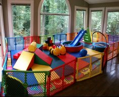 Toddler Play Area, Baby Play Areas, Indoor Play Areas, Toddler Playroom, Kids Garage, Garage Playroom, Indoor Playroom, Unfinished Basement Playroom, Daycare Setup