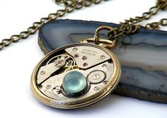 Aqua Chalcedony  Gold Antique Pocketwatch Steampunk Inspired Necklace