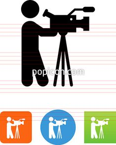 Person With A Professional Video Camera Icon - Illustration from Popicon