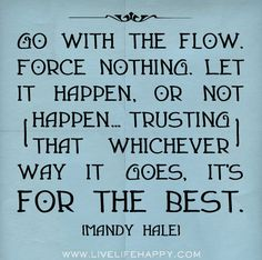 Go with the flow. Force nothing. Let it happen, or not happen..trusting that whichever way it goes, it's for the best. - Mandy Hale