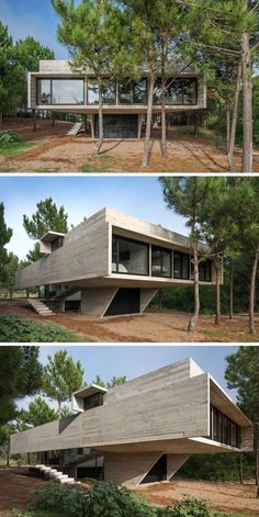 This modern house is made almost entirely from board formed concrete, creating lines of texture on the concrete resembling wood. Minimalist in design, the house is tucked neatly behind the trees.