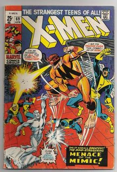Vintage Classic Original X-Men Comics - Issues 68 and 69 Jack Kirby   #68- Jack Kirby layouts. Jay Gavin pencils. Dick Ayers inks.  This is the ORIGINAL X-Men team- Cyclops, Iceman, Angel, Marvel Girl (Jean Grey), Beast, Professor X.  This issue features The Sentinals and the origin of The Beast.  #69- Same artistic team. Story features The Sentinals and The Mimic.