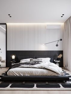 Bedroom Bed Design, Modern Bedroom Design, Contemporary Bedroom, Home Decor Bedroom, Home Interior Design, Master Bedroom, Bedroom Ideas, Bright Apartment, Apartment Interior