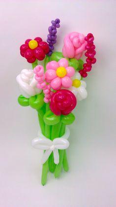 Balloon Animals Palm Beach Pink & White Daisy Rose Balloon Bouquet 1