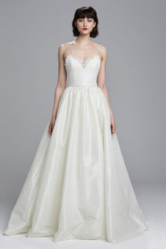 Spaghetti strap wedding dress with ballgown skirt