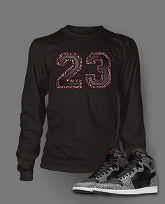 b29a5c56883 Long Sleeve Graphic T Shirt To Match Retro Air Jordan 1 Black Cement Shoe