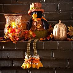 Invite this cute feathered friend into your home for the holidays! The Harvest Crow Shelf Sitter is dressed in a cuddly cardigan and features a weighted bottom for balance! #kirklands #harvest