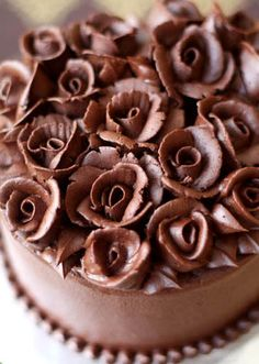 Beautiful Cake with Coffee ganache roses.