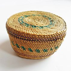 native american trinket basket   green and purple dyes   indian basket