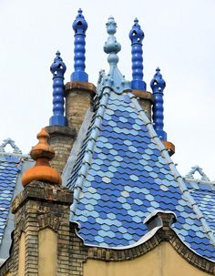 Sezession rooftops details of the Geologie-Museum, Budapest, Hungary