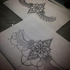 Sternum tattoo all ready to go for tomorrow #thetattooshop #tattoo #design #dotwork #geometry #geometric #mandala #mandalas #mandalatattoo #flowers #linework #blackwork #beads #art #artwork #drawing #underboob #underboobtattoo #sternumtattoo #sternum #lace #paisley #henna