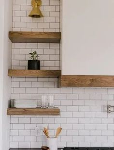 white tile from benchtop to ceiling, behind wooden shelves, timber trim to the rangehood Kitchen Nook, Kitchen Shelves, Kitchen Decor, Kitchen Design, Wooden Shelves, Floating Shelves, White Tiles, Home Reno, Home Kitchens