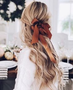 all tied up   half up half down #hairstyles with a bow
