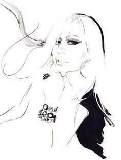 Donatella Versace Beauty and the Brush David Downton's Illustrations of Celebrities Fashion Portraits..