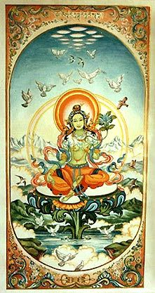 Visionary fine art and murals by Marianna Rydvald inspires the transition of diverse traditions, a dedication towards World Peace consciousness. Tibetan Art, Tibetan Buddhism, Images Of Peace, Thangka Painting, Green Tara, Buddha Art, Call Art, Indian Gods, Gods And Goddesses