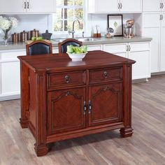 Santiago Kitchen Island with Two Counter Stools by Home Styles (Santiago Kitchen Island with Two Counter Stools), Brown