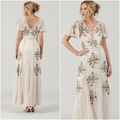 Frock and Frill Floral Embroidered Maxi Dress Cream Occasion Gown Vintage Embroidered Dresses, Frock And Frill, Boho Dress, No Frills, Frocks, 1970s, Vintage Outfits, Gowns, Summer Dresses