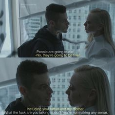 """Mr. Robot 👨🏻💻 (@mrrobotseries) on Instagram: """"[3x06] Can't wait to know what did Whiterose said to Angela🤯 . . .…"""" -- Rami Malek as Elliott Alderson and Portia Doubleday as Angela in Mr.Robot S3 Robot Tv, Film Games, Night At The Museum, Rami Malek, Watch Tv Shows, You Are The Father, Perfect Man, Gorgeous Men, Movie Tv"""