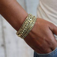 Stretch Bead Bracelet Gold Bracelet Bracelet Set by PreshStudio
