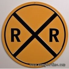 Railroad Crossing | Embossed Tin Sign | Train Collectables | A Simpler Time | A Simpler Time