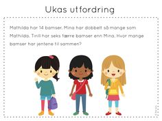 ukas utfordring, matematikk, problemløsning, frk linn Word Problems, Early Learning, Qoutes, Teaching, Activities, Education, School, Fictional Characters, Maths