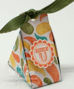Stampin' Up! Stamping T! - Mini Triangle Gift Box Convention Swap - Tangerine