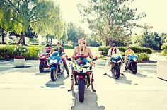 The groom and his groomsmen rode in on motorcycles! (Read more about this real wedding at insideweddings.com)