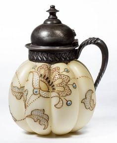 MT. WASHINGTON CROWN MILANO MELON RIB SYRUP PITCHER C. LATE 19TH CENTURY.