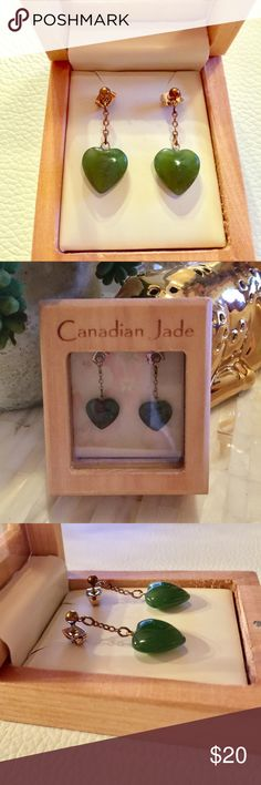 Jade Heart earrings Genuine Canadian Jade Heart dangling Earrings. Bought in Victoria B.C. Used twice only, seldom used the metal has darkened already but the jade is perfect. Jewelry Earrings