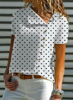V Neck Single Breasted Dot Blouses - Blouse designs Mode Outfits, Casual Outfits, Summer Outfits, Elegantes Outfit, Blouse Online, Mode Inspiration, Printed Blouse, Short Sleeve Blouse, Dress Patterns