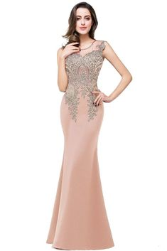 MisShow Women's Rhinestone Long Lace Formal Mermaid Evening Prom Dresses