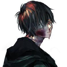Dark Anime, Anime Black Hair, Blood Wallpaper, Yandere Boy, Character Art, Character Design, Sun Projects, Dark Blood, Dark And Twisted