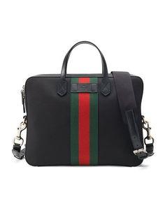 c69db535147d7a $1,590.00 GUCCI mens black canvas briefcase BGS16_N37XK Luxury Bags,  Luggage Bags, Leather Handbags,