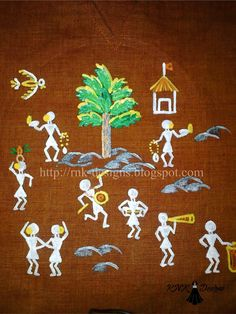 Dancing people done as fabric painting