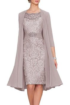 ANFF 2018 New Women's Mother Of The Bride Chiffon Lace Elegant Two Piece With Jacket: Amazon.ca: Clothing & Accessories