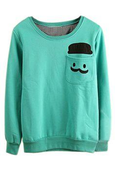 ROMWE | ROMWE Human Head Appliqued Pocketed Green Sweatshirt, The Latest Street Fashion