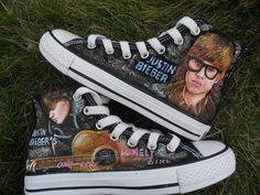 Justin One Less Lonely Girl hand painted shoes,High-top Painted Canvas Shoes Justin Bieber Shoes, Justin Bieber Outfits, Love Justin Bieber, Painted Canvas Shoes, Hand Painted Shoes, Justin Bieber Sleeping, Lonely Girl, Girls Hand, Daughter Love
