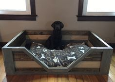 Credit: Brandi of Bismarck, Illinois Big Dog Beds, Cute Dog Beds, Pet Beds, Bed For Dogs, Wood Dog Bed, Pallet Dog Beds, Rustic Dog Beds, Diy Pallet, Pallet Ideas
