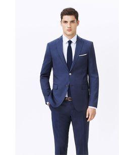 Zara Mens Tailoring Lookbook Spring Summer 2013, Navy Blue Slim Fit Suit. Would look so good on TY