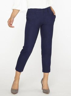 Womens Petite Navy Linen Ankle Grazer Trousers- Blue