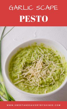 Garlic scape pesto is simple to make and tastes delicious! Guess what it is freezer friendly too! #garlicscapesrecipes #garlicscapespesto #pesto Garlic Scape Pesto, Vegetarian Cheese, Freezer, A Food, Food Processor Recipes, Food To Make, Cooking Recipes, Favorite Recipes