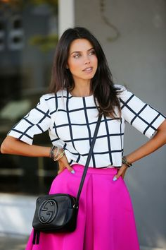 bright pink full skirt