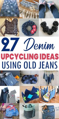 Easy Sewing Projects, Sewing Hacks, Sewing Crafts, Craft Projects, Craft Ideas, Jean Crafts, Denim Crafts, Upcycled Crafts, Diy Crafts Hacks